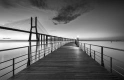 Vasco da Gama Bridge em B&W Imagens de Stock Royalty Free