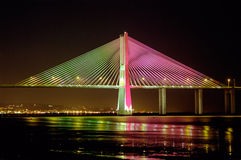 Vasco da Gama Bridge Euro2004. Vasco da Gama Bridge in Lisbon wearing the portuguese flag colours for euro2004 soccer cup Stock Image
