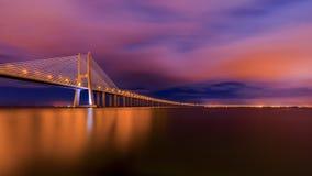 Vasco-da-Gama-bridge evening wide angle shot Stock Photography