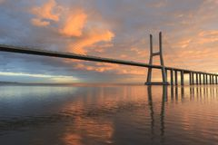 Vasco da Gama Bridge landscape at sunrise Stock Photo