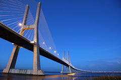 Vasco da Gama Bridge in Lisbon. The Vasco da Gama Bridge in Lisbon crosses the Tejo river. It is the longest bridge in Europe with a length of more than 17 km royalty free stock photo