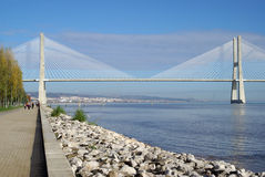 Vasco da Gama bridge in Lisbon Royalty Free Stock Image