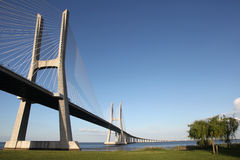 Vasco da Gama Bridge in Lisbon. The Vasco da Gama Bridge in Lisbon crosses the Tejo river. It is the longest bridge in Europe with a length of more than 17 km stock photos