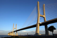 Vasco da Gama Bridge in Lisbon. The Vasco da Gama Bridge in Lisbon crosses the Tejo river. It is the longest bridge in Europe with a length of more than 17 km stock photography