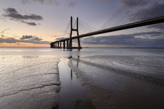 Vasco da Gama Bridge in Lisbon is an amazing spot. Panoramic view of the Vasco da Gama Bridge in Lisbon. this night landscape is a tourist attraction spot in stock photography