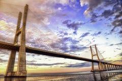 Vasco da Gama bridge Lisbon HDR. Vasco da Gama bridge in Lisbon Portugal royalty free stock photos