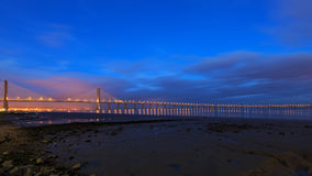 Vasco da Gama Bridge in Lisbon at night Stock Images