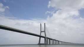 Vasco da Gama bridge in Lisbon. A panoramic vie of Vasco da Gama bridge in Lisbon, Portugal stock footage