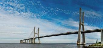 Vasco da Gama bridge in Lisbon panoramic view Stock Photos