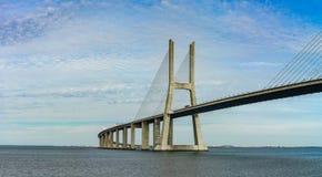 Vasco da Gama bridge in Lisbon panoramic view Royalty Free Stock Images