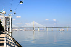 Vasco da Gama Bridge in Lisbon, Portugal. The Vasco da Gama Bridge or Ponte Vasco da Gama is a cable-stayed bridge flanked by viaducts and range views that spans royalty free stock image