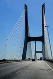 Vasco da Gama Bridge in Lisbon, Portugal Royalty Free Stock Images