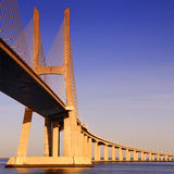 Vasco da Gama bridge, Lisbon, Portugal. Vasco da Gama bridge is the largest in Europe over the Tagus river royalty free stock photo