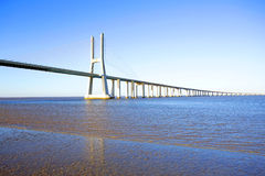 Vasco da Gama Bridge in Lisbon Portugal Royalty Free Stock Photography