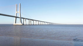 Vasco da Gama bridge in Lisbon Portugal stock video footage