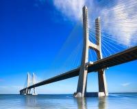 Vasco da Gama bridge, Lisbon, Portugal, Europe. Vasco da Gama bridge spans the Tagus River in Lisbon, Portugal. It is the longest bridge in Europe, located in royalty free stock photos