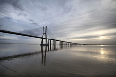 The Vasco da Gama Bridge in Lisbon, Portugal. The Vasco da Gama Bridge is a famous landmark in Lisbo, Portugal. Longest bridge in Europe Stock Photos