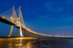Vasco da Gama bridge, Lisbon, Portugal. Vasco da Gama bridge is the largest in Europe over the Tagus river stock image