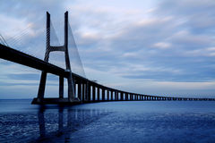 Vasco da Gama Bridge, Lisbon, Portugal. Vasco da Gama bridge, the longest bridge in Europe, Lisbon, Portugal Royalty Free Stock Images