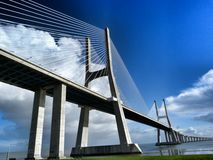 Vasco da Gama bridge, Lisbon, Portugal. Longest bridge in Europe is called Vasco da Gama, Lisbon, Portugal royalty free stock images