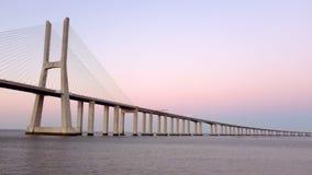 Vasco da Gama bridge in Lisbon Portugal at sunset stock video footage