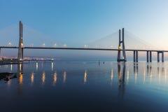 Vasco da Gama Bridge in Lisbon Stock Images