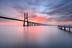 Vasco da Gama Bridge in Lisbon at Sunrise. Royalty Free Stock Image