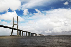 The Vasco da Gama Bridge, Lisbon, view from the Nations Park Stock Photography