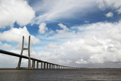 The Vasco da Gama Bridge, Lisbon, view from the Nations Park Stock Photography