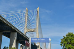 Vasco da Gama Bridge - Lisbonne, Portugal Images stock