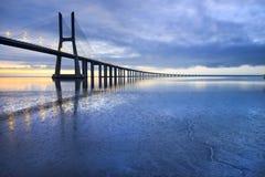 Vasco da Gama bridge. The longest bridge in Europe and a sight attraction of Lisbon, Portugal Stock Photography