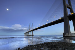 Vasco da Gama Bridge by night Stock Photo