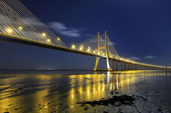Vasco da Gama Bridge by night. Vasco da Gama bridge in Lisbon Portugal stock images