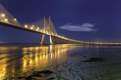 Vasco da Gama Bridge by night Stock Photo