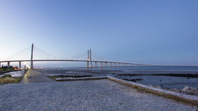 Vasco da Gama Bridge over the tagus river stock video