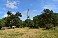 Vasco da Gama Bridge through the park - Lisbon, Portugal Stock Image