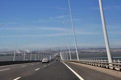 Vasco da Gama bridge, Portugal. The longest bridge in Europe, situated near Lisbon, Portugal Royalty Free Stock Image