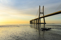 Vasco da Gama bridge at sunrise, Lisbon Royalty Free Stock Photo