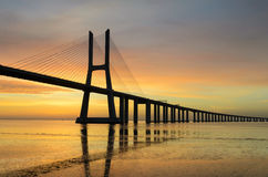 Vasco da Gama bridge at sunrise, Lisbon Stock Photo