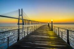Vasco da Gama Bridge at sunrise Stock Images
