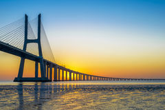 Vasco da Gama Bridge at sunrise royalty free stock image