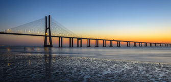 Vasco da Gama Bridge at sunrise stock photo