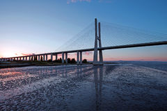 Vasco da Gama Bridge at sunset in Lisbon Portugal Royalty Free Stock Photos