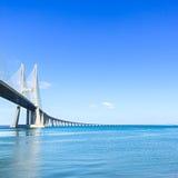 Vasco da Gama bridge on Tagus River. Lisbon, Portugal, Europe. Vasco da Gama bridge on Tagus River in Lisbon, Portugal. It is the longest bridge in Europe Royalty Free Stock Photography