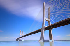 Vasco da Gama-bro, Lisboa, Portugal. Fotografering för Bildbyråer
