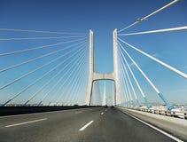 Vasco da Gama-brug, Lissabon, Portugal Stock Foto