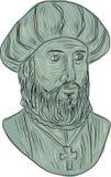 Vasco da Gama Explorer Bust Drawing Royalty Free Stock Images