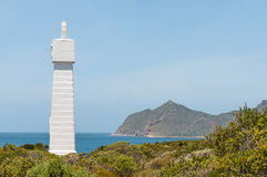 Vasco da Gama monument,  Cape Point. Monument near Cape Point (visible in back) commemorate voyage around the Cape by Vasco da Gama in 1497. Serves as beacon Stock Image