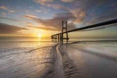 Vasco Da Gama most nad Tagus rzeką Fotografia Royalty Free