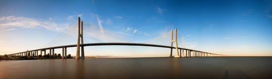 Vasco da Gama panorama. Beautiful panoramic image of the Vasco da Gama bridge in Lisbon, Portugal stock image